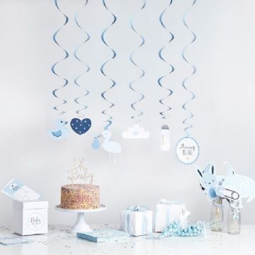 Baby Shower Swirl Decorations - Blue